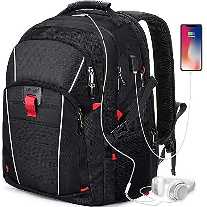 51LZWN2jdLL. SS416  - Mochila Portátil Hombre 17.3 Pulgadas Puerto USB Impermeable Trabajo Ordenador Viaje Negocio Multifuncional Daypacks Negro