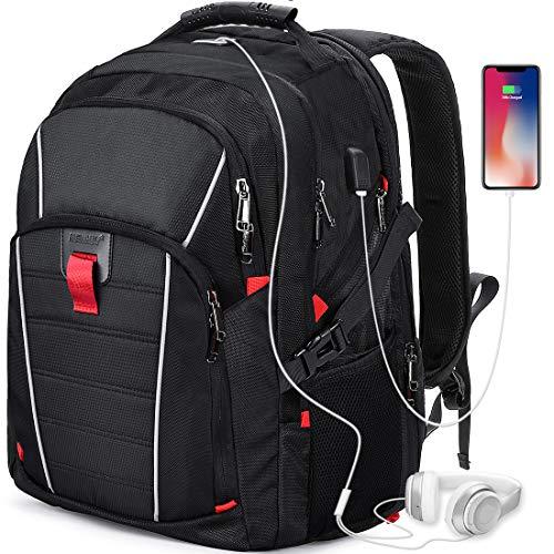 Mochila Portátil Hombre 17.3 Pulgadas Puerto USB Impermeable Trabajo Ordenador Viaje Negocio Multifuncional Daypacks Negro