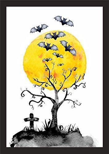 Livingstyle & wanddesign stampa artistica lucido carta foglio artistico poster stampa colori foto di muro poster halloween bat pipistrello albero - a3