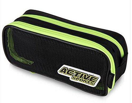 Rashen (TM) Grand Storage Trousses Pencil Holder Makeup Cosmetic Bag Zipper Pouch (vert de sport actif)