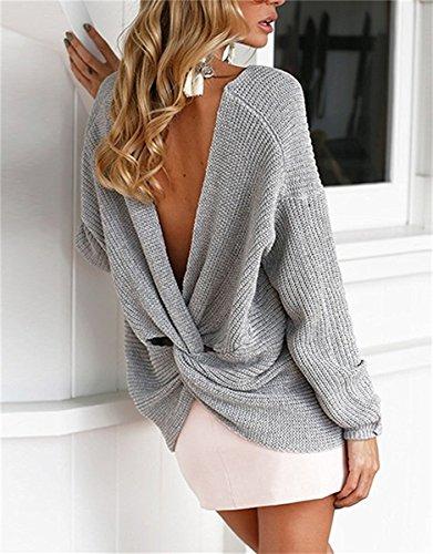 Minetom Donna Autunno Inverno Maglioni Sexy Scollo a V Croce Pullover Maniche Lunghe Maglieria Tops Elegante Sweater Jumper Grigio