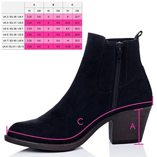 SPYLOVEBUY LONGSHENG Femmes à Talon Bloc Chelsea Boots Bottines Bleu - Simili Daim