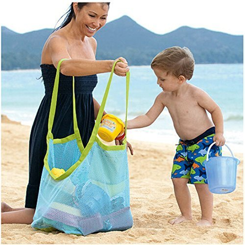 Togather® Extra Large Family maglia spiaggia borsa Tote zaino giocattoli asciugamani sabbia lontano - blu