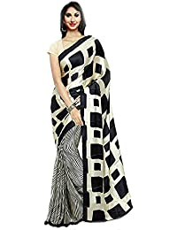 Aaradhya Fashion Women's Crepe Printed Saree With Blouse Piece (Black-Apple-01_Black)
