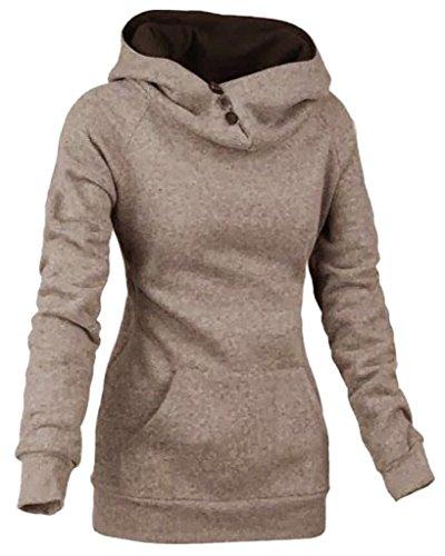 Minetom Femme Automne Hiver Sweats À Capuche Manches Longues Encapuchonné Tops Avec Boutons Solide Couleur Sweat-Shirt Kaki