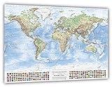Mappa fisica del mondo, 120x80 cm, con bandiere, in inglese, edizione 2017