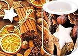 Set di candela elegante 8 x 7,5 cm + tovaglioli coordinati 33 x 33 cm - Motivo natalizio con bastoncini di cannella e arance essiccate