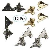 12 pièces Pied d'angle décoratif pour boîte à bijoux (4 x or, 4 x argent, 4 x...