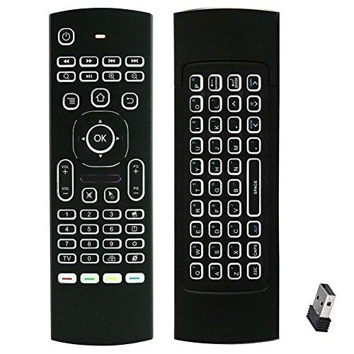(con retroiluminación LED, aprendizaje de códigos IR) FATMOON Mini 2,4 G inalámbrico de ratón y teclado retroiluminado teclado Combo,Mando a distancia, aprendizaje de códigos IR para Xbox 360, HTPC, PC/Mac/Windows/Android TV Box/Amazon Fire TV etc.