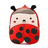 Kinder Rucksäcke Kleinkind Kinder Baby Rucksack Kindergarten Schultasche Plüsch Cartoon Tier Tasche für Mädchen Jungen (Marienkäfer)