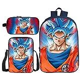 BFZHYMX Rucksack für Mädchen Schulbüchertasche 3 Stück Dragon Ball Büchertaschen Wärmeisolierte Lunch-Tasche Mäppchen zum Mädchen Junge,l