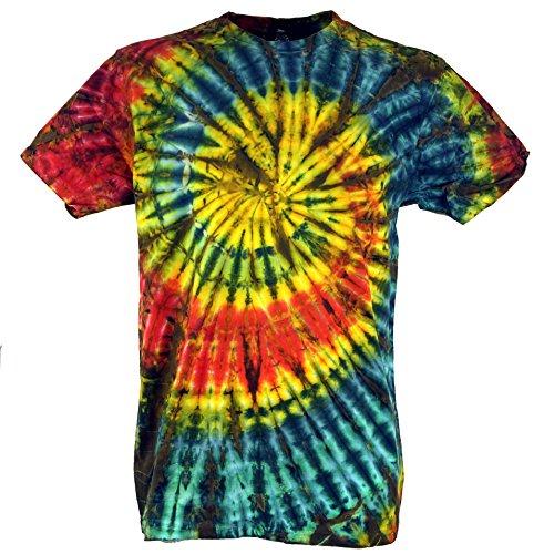 Guru-Shop Batik T-Shirt, Herren Kurzarm Tie Dye Shirt, Rot/Gelb Spirale, Baumwolle, Size:XL, Rundhals Ausschnitt Alternative Bekleidung (Herren-xl Dye Tie)