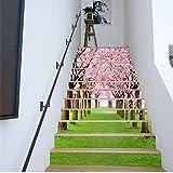 Adesivi Per Scale 13 Pezzi Sakura Decorazione Adesivi Fai Da Te Adesivi In   Vinile 3D Carta Da Parati Per Soggiorno Scala In Pvc Albero Ciliegio Murale 18 * 100cm