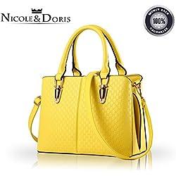 NICOLE & DORIS Bolsos de Mujer Bolsos de Mano Bolsos de la Moda para Damas Bolsos de Hombro Bolsos Totes Amarillo