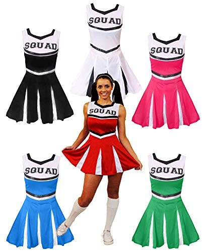 Blau Cheerleader Kostüm Weiß Und - ILOVEFANCYDRESS Damen BLAU HOCHSCHUL Cheerleader Fancy Kleid KOSTÜM Frauen Cheer Captain American Cheer Leader UNIFORM (Small)