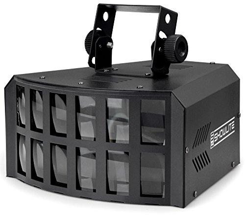 Showlite LD-4x3W LED Derby Lichteffekt RGBA (beeindruckender und starker Lichteffekt, satte und kräftige Farben, Musiksteuerung, stufenlose Empfindlichkeitsregelung des internen Mikrofons, langlebig)