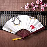 Ventaglio a mano Donna Simpatico Pinguino A Piggie In Red Sciarpa Ghirlanda con cornice di bambù Pendente nappa e borsa di stoffa Ventilatori a mano economici Ventagli di carta a mano Ventagli pieghe