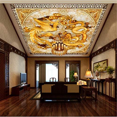 Papel Pared Papel Pintadopapel Tapiz Fotográfico Custom Chinese Dragon Phoenix Hd Mural Sala De Estar Oficina Del Hotel Techo Papel Tapiz, 150 * 105 Cm