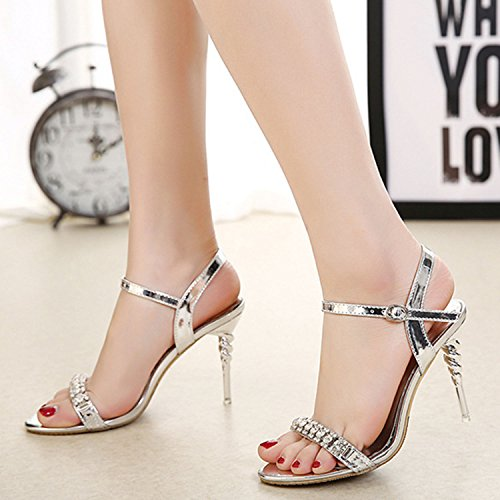Oasap Women's Open Toe Rhinestone Screw Stiletto Heels Sandals Silver