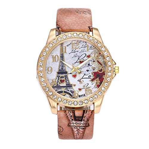 Vintage Paris Eiffelturm Damenmode Uhr Kristall Leder Armbanduhr Chenang Böhmische Eiffelturm Mode Luxus Diamant hübsche Quartz Wrist Watch Rot für Frauen Mädchen Damen (Braun) (Kristall Eiffelturm)