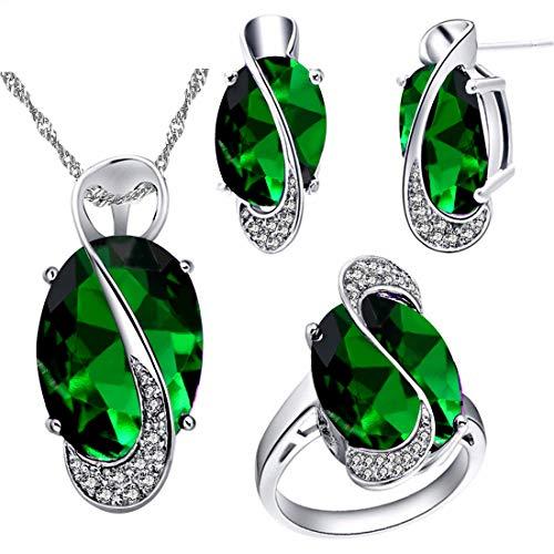 Uloveido Mode platiniert große ovale grüne Geburtsstein Anhänger Halskette Pierce Ohrringe zierliche Birthstone Ring Partei Schmuck-Set für Freundin T472