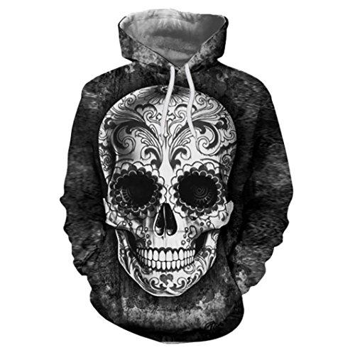 erren, Mode Unisex 3D Gedruckt Halloween Kleidung Schädel Pullover Hoodies Langarm Mit Kapuze Sweatshirt Tops Bluse Frauen Männer (L, Schwarz) (Halloween-kleidung Für Männer)