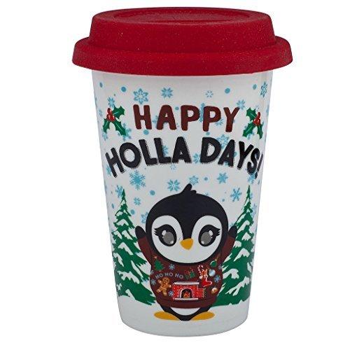 (Lux Zubehör Happy Holidays Christmas Sippy heißen Kaffee Trinken Kalten 8oz Tasse Pinguin Weihnachts Candy Cane Weihnachtsstrumpf)