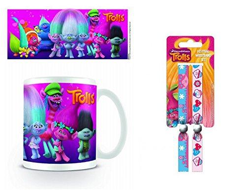 Set: Trolls, Characters Foto-Tasse Kaffeetasse (9x8 cm) Inklusive 1 Trolls Armband (10x2 cm)