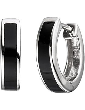 Paar Creolen 14,6mm Ohrringe mit schwarzer Einlage 925 Silber rund Unisex