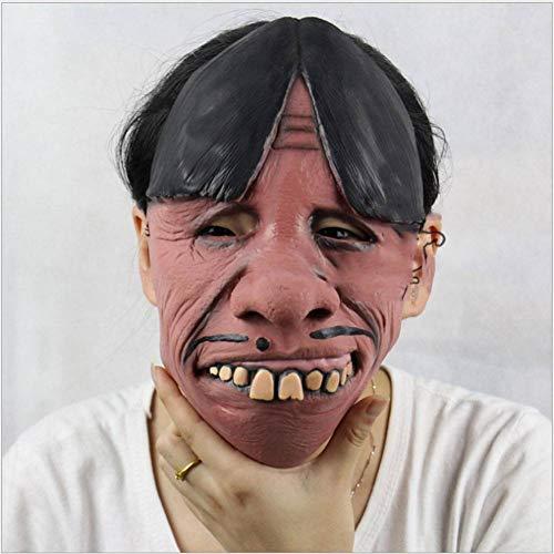 AIYA Lustige lustige verräterische Gesicht der Reißzähne Halloween-Weihnachtsfeststützen Latexhorrormaske (Keine Furchterregende Kostüm)