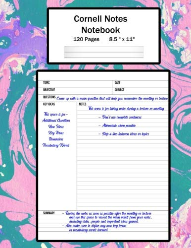 Cornell Notes Notebook: Note Taking System, For Students, Writers, Meetings, Lectures Large Size 8.5