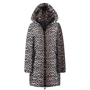 TianWlio Jacken Damen Winter Lange Daunenjacke Baumwolle Leopard Drucken Parka mit Kapuze Outwear Parka Mäntel Herbst Winter Warme Jacken Strickjacken Schwarz S/M/L/XL/XXL/XXXL