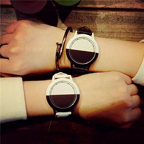 Zantec Paar Armbanduhr fuer Studenten LED Cool Persönlichkeit Große Zifferblatt Studenten Präzise Hit Farbe Lovers 2 schwarz weiß (Apple Bottoms Frauen)
