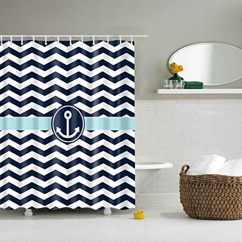 ajhgfjgdhkmdg Polyester-Anker und gestreifter Duschvorhang Wasserdicht, pflegeleicht, langlebig und Abriebfest -