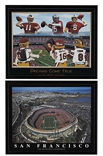 Joe Montana, Steve Young & Alex Smith gerahmt Druckvorlage von und San Francisco 49'ers-Park Antenne gerahmt Set von 2 - Candlestick Park Poster