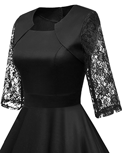HomRain Damen 50er Vintage Retro Kleid Party Langarm Rockabilly Cocktail Abendkleider Black-1 XS - 4