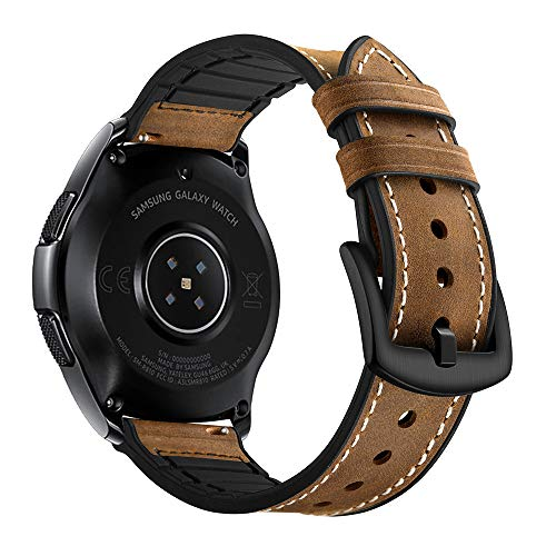 Myada Kompatibel für Armband Samsung Galaxy Watch 42mm,Lederarmband Samsung Galaxy Watch Active Leder Armband Gear Sport Ersatzarmband Armband Garmin Vívoactive 3 Armbänder 20mm Herren(Leder+Silikon) -