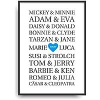Moderner Vintage Poster Druck BLUE LOVE berühmte Paare Fine Art Kunstdruck Deko Bild Print Plakat ohne Rahmen DIN A4 Geschenk personalisiert