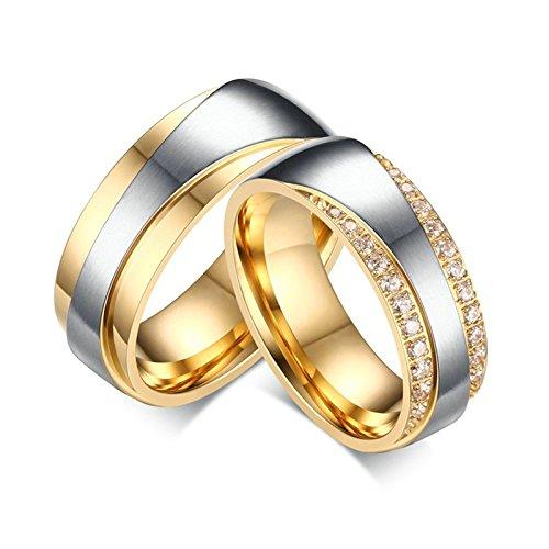 Daesar 2 Stück Edelstahl Hochzeit Ring Bandring Gold & Silber 7MM mit gratis Gravur Damen 60(19.1) & Herren 70(22.3) (Silber Herren Diamant-hochzeit Ringe)