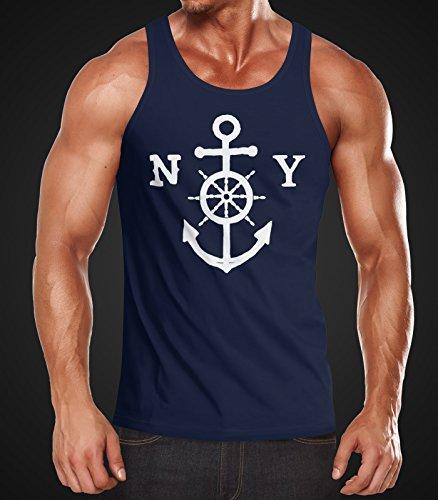 Herren Tank Top Anker Steuerrad Anchor Steering Wheel Muskelshirt Achselshirt Neverless® Navy