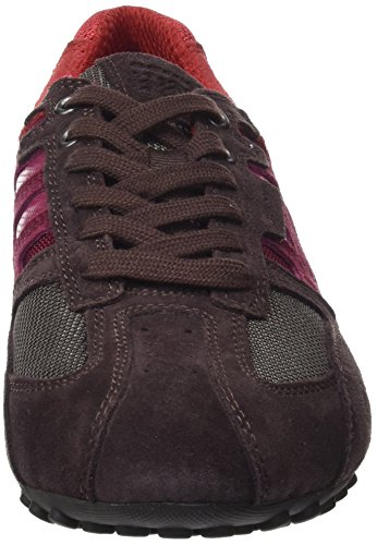 Geox Snake e, Sneaker Uomo Rosso (Dk Burgundy/ruby)