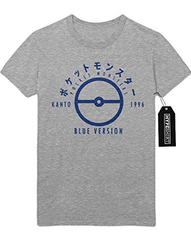 T-Shirt Pokemon Go Kanto 1996 Blue Version Pokeball Catch 'Em All Hype X Y Nintendo Blue Red Yellow Plus Hype Nerd Game C980109 Grau