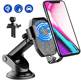 SONRU Upgraded Wireless Car Charger, Qi Car Charger Phone Holder, Wireless Fast Charge for iPhone XR/XS/XS Max/X/8, Galaxy S10/Note 9/S9/S9+, S8/S8+, S7/S7 Edge, S6/S6 Edge, Note 8/5, etc