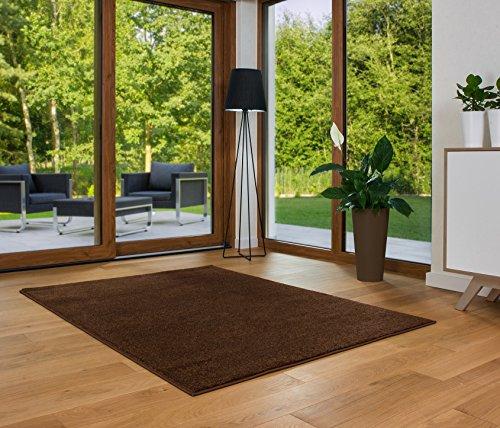 Designer Teppich Friese Einfarbig Modern Verschiedene Größen und Farben Braun