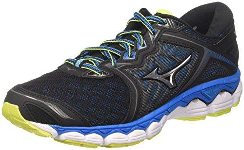Mizuno Wave Sky, Running Shoes for Men, (Black / Silver / Divablue 05), 42.5 EU