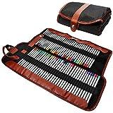 AFUNTA Bleistifte Halter, 72 sortierte Farbstiften Organizer, Roll up Waschbare Leinwand Bleistift Beutel für Schule Büro Kunst ect.