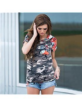 Tefamore Blusa Mujeres Camiseta de impresión Casual Tops O-cuello de manga corta de camuflaje