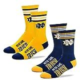 For Bare Feet NCAA Herren Socken 2 Stück gestreift Deuce Crew, Herren, Notre Dame Fighting Irish-2 Pack-Navy & Gold, Large (10-13)