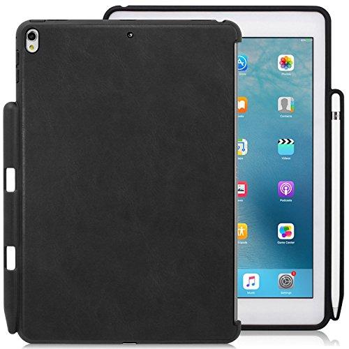 KHOMO iPad Air 3 10.5 (2019) / iPad Pro 10.5 (2017) Rückseite Abdeckung Case Hülle Schutzhülle Kompatibel mit Smart Cover, Tastatur und Apple Pencil 1 Halter - Leder Schwarz (Schwarz Smart Cover Ipad)