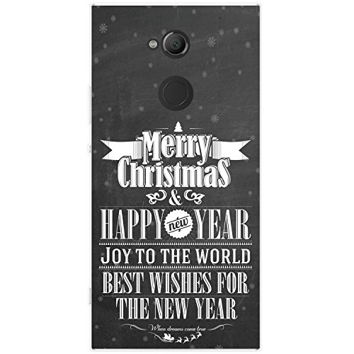 Fancy A Snuggle nero vintage tipografia Natale cover/custodia rigida per Sony cellulari, Best Wishes Christmas New Year, Sony Xperia XA2